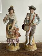 """Antique French Bisque Porcelain Large 21"""" Figurines Colonial Couple"""