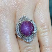 10.62 Cts Star Ruby And Diamond Ballerina Cocktail Ring In Platinum -- Hm2189n