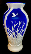 Fenton Cameo Glass Woodland Night Cobalt Cased In Milk Glass Designer Proof