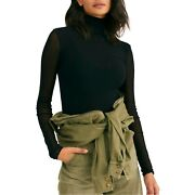 Free People Double Layer Black Nylon Mesh Mock Turtleneck Fitted Shirt L