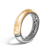 John Hardy Classic Chain Silver And 18k Gold Hammered Hinged Bangle Bracelet Sizem