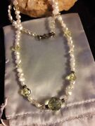 Artisan Yellow Crystal Pearl Beaded Necklace Sterling Silver Clasp Women Jewelry