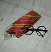 Harry Potter Red Striped Tie And Nerd Glasses Costume Theater Reenactment New