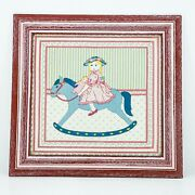 Vintage Framed Piece Of Fabric W/ Running Stitches Nursery Decor Embroidery