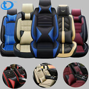 5 Seats Luxury Leather Car Seat Covers Pu Leather Full Set W/ Pillow 14pc Fit