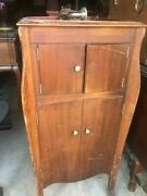 Antique Victrola Record Player And Cabinet