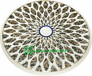 30and039and039 White Marble Table Top Inlay Malachite Center Coffee Antique Home Decor W15