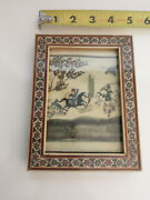 Persian Antique Miniature Painting Hunting Horses Inlaid Marquetry Frame