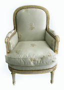 French Louis Xvi Style Bergandegravere Upholstered Accent Chair Custom Silk Fabric