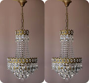 Two Antique Vintage Crystal Chandeliers Ceiling Lighting Pendants Home Lamps