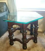Ethan Allen Side Table Royal Charter Antiqued Pine Hexagonal Glass Top 12-8082