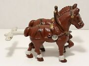 Vintage Cast Iron Clydesdales Beer Wagon Toy 2 Horse Team Replacement 2