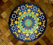 Moroccan Garden Zallij Tables On A Stand Mosaic Tables Round Mosaic Tables