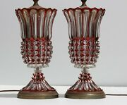 Antique Eapg Red Ruby Flash And Clear Glass Table Lamps Pair