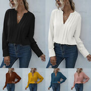 Womens Long Sleeve V Neck Shirts Ladies Casual Plain Loose Ol Work Tops Blouse