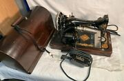 Antique 1922 128 Singer Sewing Machine + Wood Dome Case Foot Pedal Motor Works