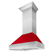 30 In. Range Hood Wall Mount With Red Gloss Shell Led Lighting Stainless Steel