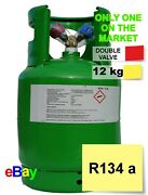 R134a Refrigerant Gas 12kg Virgin Refillable Cylinders Double Valve 1/4andnbsp