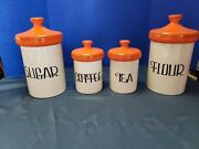 Vintage Holiday Designs 1970and039s Ceramic Canister Set Sugar Flour Coffee Tea
