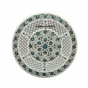 30and039and039 White Marble Table Top Coffee Center Inlay Lapis Mosaic Home Decor W42