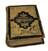 Antique Parallel Pictorial Leather Bible 1885 Imprint Hunter Family History