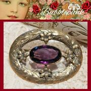 Antique Victorian Amethyst Glass Rhinestone Pin Estate Jewelry Buy-out