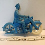 Auburn Rubber Motorcycle Blue 1950s Police Vintage Toy White Tires. 6.25 Large