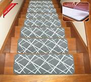 Seloom Dog Assist Gray Stair Treads Carpet Non-slip Washable With Skid Resistant