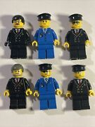 Lego City Minifigs Lot Pilot And Co-pilot Airplane Crew Airport Plane Minifigure