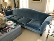 Donghia Blue Velvet Couch 130 Inches Camelback