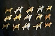 Vintage Sterling Silver Dog Lovers Charm Lot 15 Dogs Various Breeds And Colors
