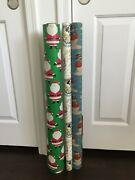 Vintage Lot Of 3 Large Christmas Gift Wrap Wrapping Paper 30 Santa Snowman Boy