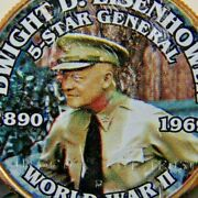 Dwight D Eisenhower 5 Star General Ww2 Coin Colorized Kennedy Half Dollar