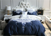 100s Egyptian Cotton Bedding Set Oriental Embroidery Duvet Cover Bed Sheet Set