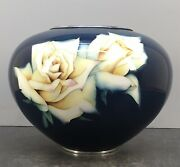 Fine Japanese Taisho Ando Cloisonne Vase With Silver Wire And Wireless Designs
