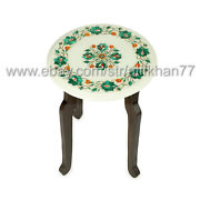 Round Small Coffee Table Top Marble Inlay Antique Work Sofa Side Table