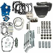 Sands 128 Kit Chain Drive Oil Cooled For 114 Harley M8 Highlighted Fins/chrome