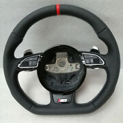 Audi S5 Flat Bottom Leather Steering Wheel Rs5 S5 S4 Rs4 Sq5 Q5 A4 A5 Q7 S-line