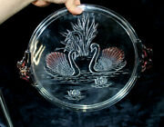 Vintage Glass Presentation Cake Pie Tray Plate With Swans