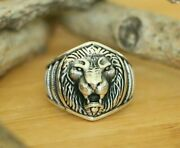 Lion Signet Rings High Quality 925 Sterling Silver Handmade Mens Rings Size 8.75