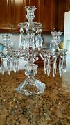 1 Antique Heisey Williamsburg P. Candelabra With Lead Crystal Prisms15 Inches