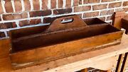 Beautiful Antique Vintage Carpenter's Wooden Tool Box Caddy Farmhouse Table