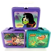 Vintage Disney Plastic Lunch Boxes Lot Of 3 No Thermos Lion King Aladdin Mulan