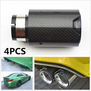 For Bmw 2.5''in,3.5''out 4pcs Glossy Carbon Fiber Exhaust End Tip Pipe With Logo