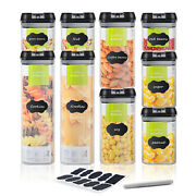 9 Piece Plastic Food Storage Airtight And Leakproof Containers Set Home Bpa Free