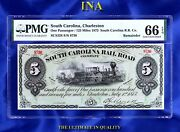 State Of South Carolina 1873 5 Currency Gem Unc Pmg 66 Epq Perfect Margins