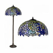 Floor Lamp, Style Stained Glass Purple Wisteria Hanging Lamp With Han...
