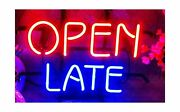 """T910 Open Late Neon Light 14""""×10"""" Bar Signs Real Glass Neon Sign 3 Year Warra..."""