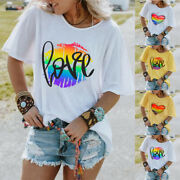 Womens Crew Neck Casual T Shirt Ladies Summer Short Sleeve Top Blouse Size S-5xl