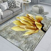 Chinese Flower Ink Oils Paint Style Large Carpet Anti-slip Absorb Water Bedroom